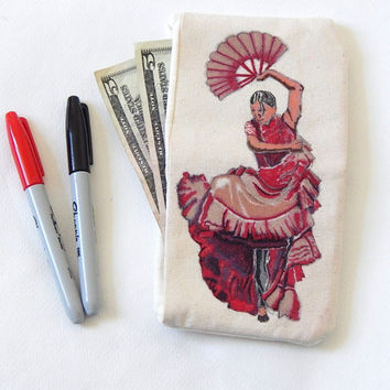 Handmade Bi-fold Wallet, Flamenco Dancer, Painted, Sewn by Artist, Spanish Art, Canvas Wallet, Cool Wallet, Custom Painted, quality, cotton