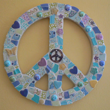 Broken China Mosaic 12 Inch Peace Sign Custom Made to Order