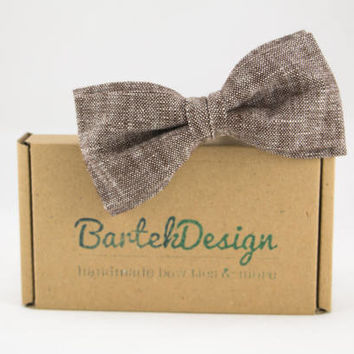 Brown Bow Tie for Men Linen Bow Tie Mens Bow Tie Handmade Bow Tie Pre Tied Bow Tie Groomsmen Bow Tie Gift for Men Fathers Day Gift