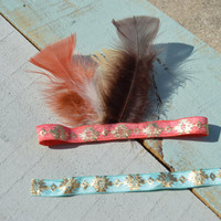 Feathered Aztec Headband/Indian Headband/ BOHO headband (Color and Sizing Options)
