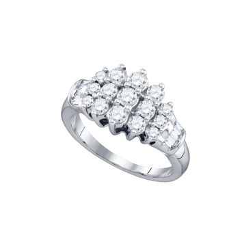 10kt White Gold Womens Round Diamond Cocktail Cluster Ring 7/8 Cttw 72424