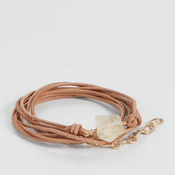 genuine leather cord wrap bracelet with quartz stone | maurices