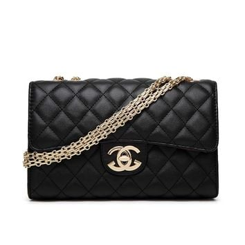 BLACK CHANEL Women Shopping Leather Metal Chain Crossbody Shoulder Bag