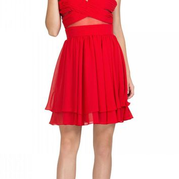 Red Homecoming Short Dress with Sheer Cut-Outs