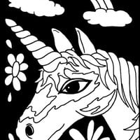 "Color-In Velvet Poster 6""""X9""""-Unicorn Face"
