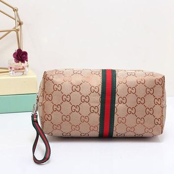 Gucci Fashion Women Print Zipper Shopping Wallet Purse Cosmetic Bag Beige I