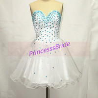 2014 short white tulle prom dresses with rhinestones,cute sweetheart gowns for homecoming party,latest cheap prom dress hot.