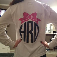 Custom Bow Monogrammed Tee Vinyl Monogram Preppy Bow You Choose Color and Style