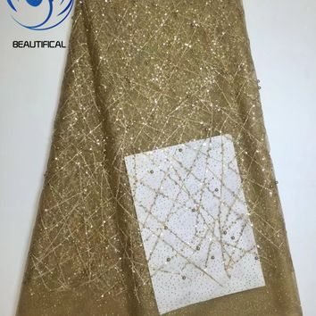 Beautifical African lace with beaded Gold hair stripe embroidered net lace fabric Rhinestones women lace fabric 5yards 1N457