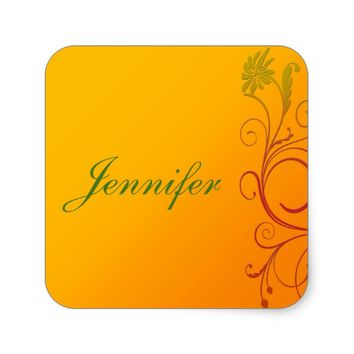 Orange Flower Square Sticker