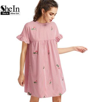 SheIn Bow Tie Back Frill Sleeve Embroidered Striped Babydoll Dress Summer Cute O Neck Short Dress Pink A Line Dress