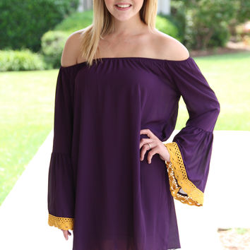 Biggest Fan Gameday Dress - Purple and Gold