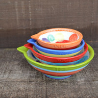 Set of 4 Bright Rainbow Stripes and Polka Dots Ceramic Measuring Cups - 1 Cup, 1/2 Cup, 1/3 Cup, 1/4 Cup
