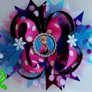 Anna frozen boutique hair bow,Disney princess ott bow, Do you wanna build a snow man??