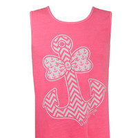 Girlie Girl Originals Anchor Bow Neon Pink Bright Tank Top