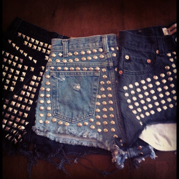 MADE TO ORDER studded shorts by yourafever on Etsy