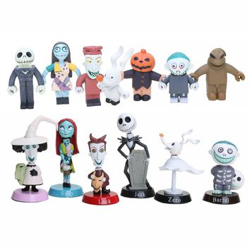 Anime Nightmare Before Christmas Jack Sally Shock Zero Head PVC doll Action Figures Toy children gift