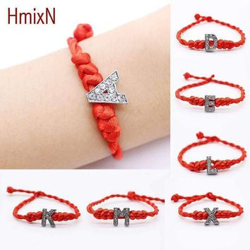 2016 New fashion Crystal Letters Charm Bracelet with Red Rope chain Lucky Bracelet Cord String Line Handmade Jewelry for unisex