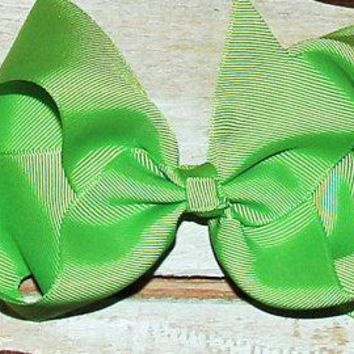 Girls Lime Green 7 inch Hair Bow