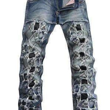 Mens Punk Slim Hole Jeans Male Personality Patchwork Denim Trousers