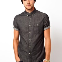 ASOS Black Denim Shirt In Short Sleeve