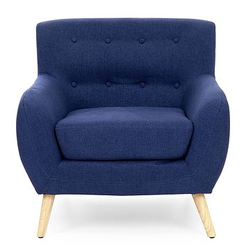 Dark Blue Linen Upholstered Tufted Armchair with Modern Mid-Century Style Wood Legs