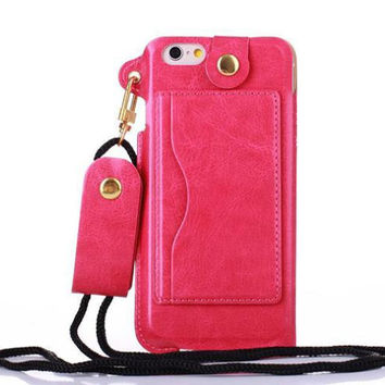 Luxury Fashion Long Neck Strap Rope Chain Leather Phone Case Cover For Iphone 7 6 6S Plus 5 5S SE 5C 4 4S With Stand Card Holder