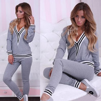 Grey Striped V-Neck Long Sleeve Sweatshirt and Pants