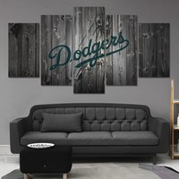 Los Angeles Dodgers Baseball Barnwood Style Canvas