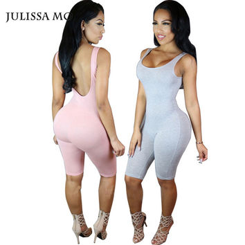 Rompers Womens Jumpsuits Sexy Night Club Sleeveless One piece Women Cotton Summer Solid Short Bodysuit Bodycon Jumpsuit