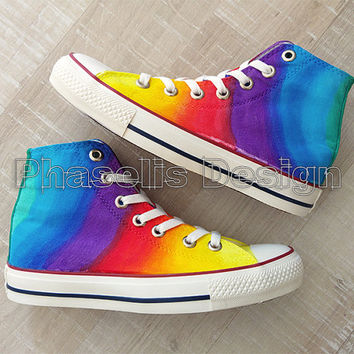 Colorful Tie Die Rainbow Custom Painted Shoes