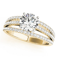 Engagement Ring -Petite Multi-Row Diamond Engagement Ring in Yellow Gold-ES2014YG
