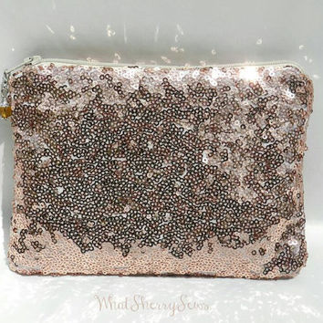 Bronze/Copper Sequin Clutch/Makeup/Toiletries Bag Glittery Sparkly Silver Sequin With Beige Zipper & Optional Color Bead Zipper Pull
