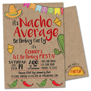 Nacho Average Birthday Invitations -  Boy Fiesta Birthday Invitations - Kraft Taco Birthday Invite - Nacho Average 1st Birthday -  Photo