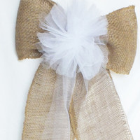 Large Pew Bow - Burlap Pew Bows- Burlap Wedding- Rustic Wedding Decor Set Of Four