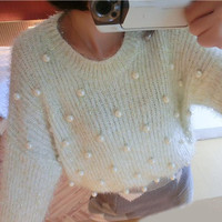 Long Sleeve Beaded and Fur Design Pullover Sweater