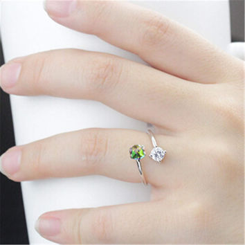 Womens Girls Adjustment Silver Ring Hight Quality Diamond Ring  Best Christmas Gift One Size Rings-95
