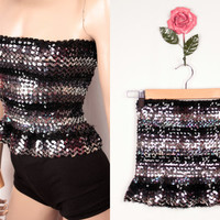 vintage sequin tube top // peplum