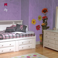 August Beach Twin Size Big Bookcase Storage Bed