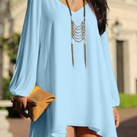 Light Blue Long Sleeve Cold Shoulder V-Neck High Low Dress