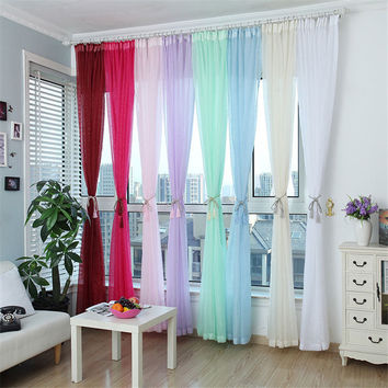 Window Screening Blinds Sheer Voile Gauze Curtain for Cafe Kitchen Living Room Balcony