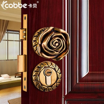 Full Brass Wood Door Lock Simple Wooden Door Split Locks Zinc Alloy Indoor Door Locks Bedroom Hotel Home Office Door Lock