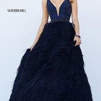 Stunning Beaded Feather Ball Gown by Sherri Hill