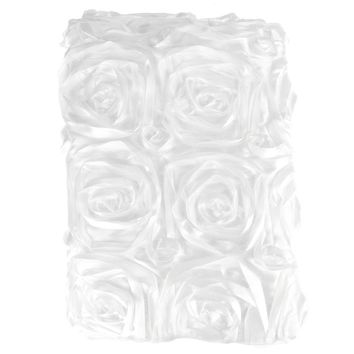 Satin Rosette Table Runner with Serged Edge, White, 14-Inch x 108-Inch
