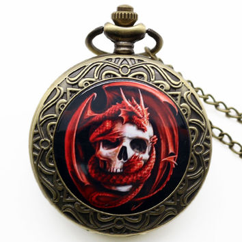 Punk Style Charm Pendant Watch Bronze Red Skull Dragon Pocket Watch Gothic Quartz  Watches Gift