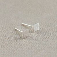 Tiny square earrings,sterling silver earrings,cute earrings,brushed silver earring studs