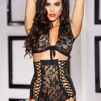 Stretch Black Lace Set