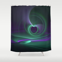 Abstract Heart Fractal Shower Curtain by Gabiw Art