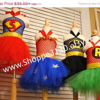 HALLOWEEN SALE Super Hero Inspired Tutu Dress Costume for Halloween, Birthday Parties, or Dress Up Batman, Robin, Wonder woman, and Superma