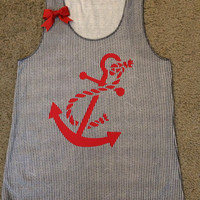Nautical -  Anchor Tank -  Striped Tank - Ruffles with Love - RWL